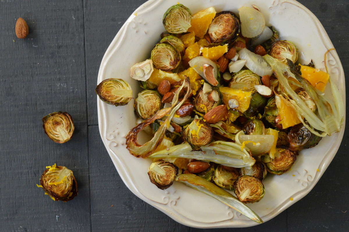 Roasted Fennel and Brussels Sprouts with Orange & Almonds