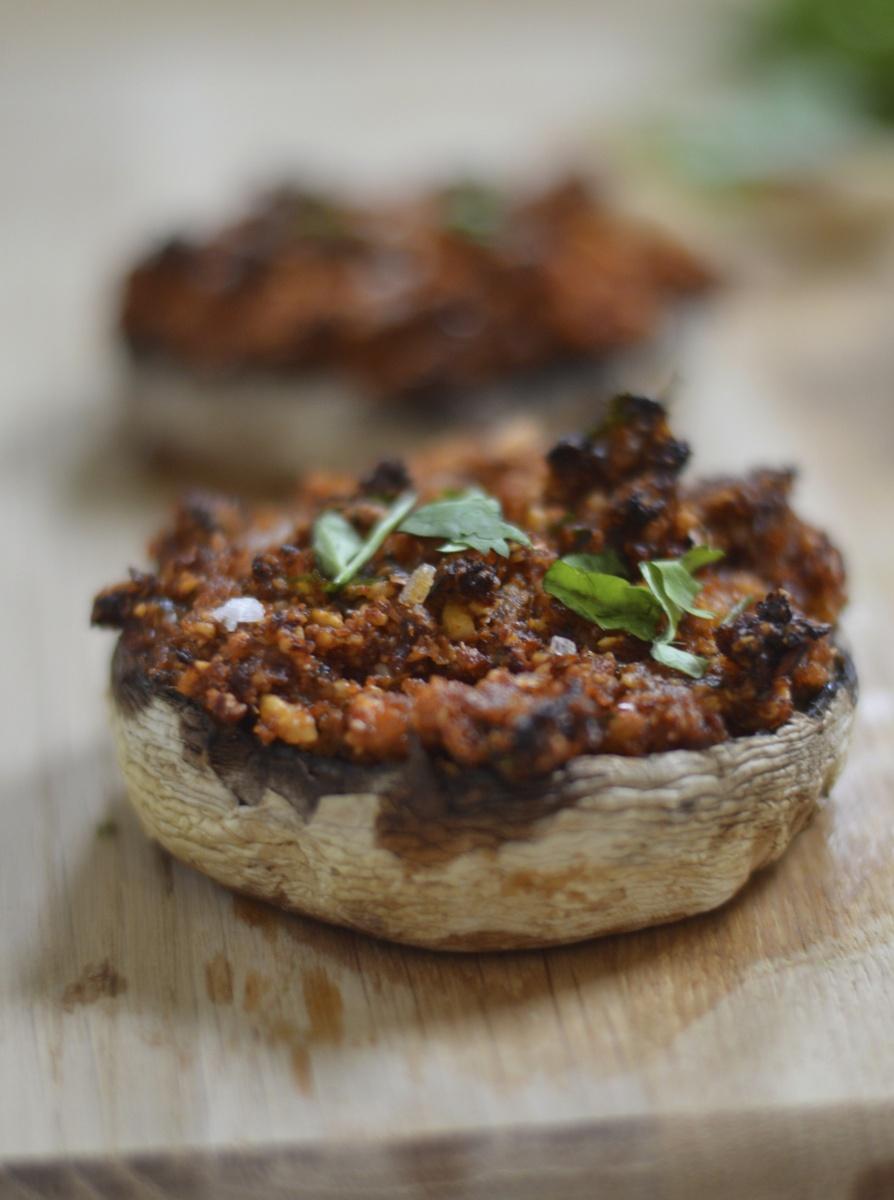 sun-dried tomato stuffed mushrooms