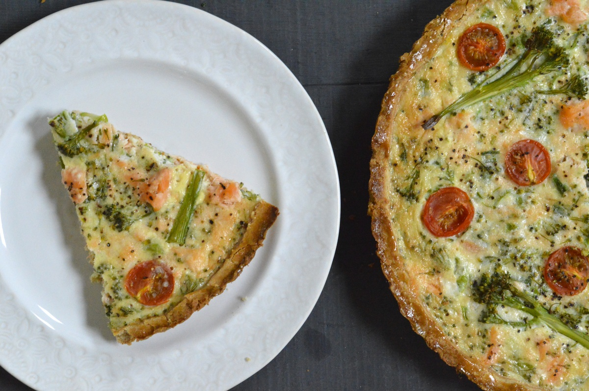 Tenderstem®, Cherry Tomato & Salmon Quiche