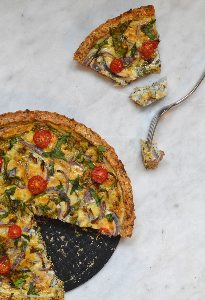 Cheese and onion quiche with a celeriac and fennel crust