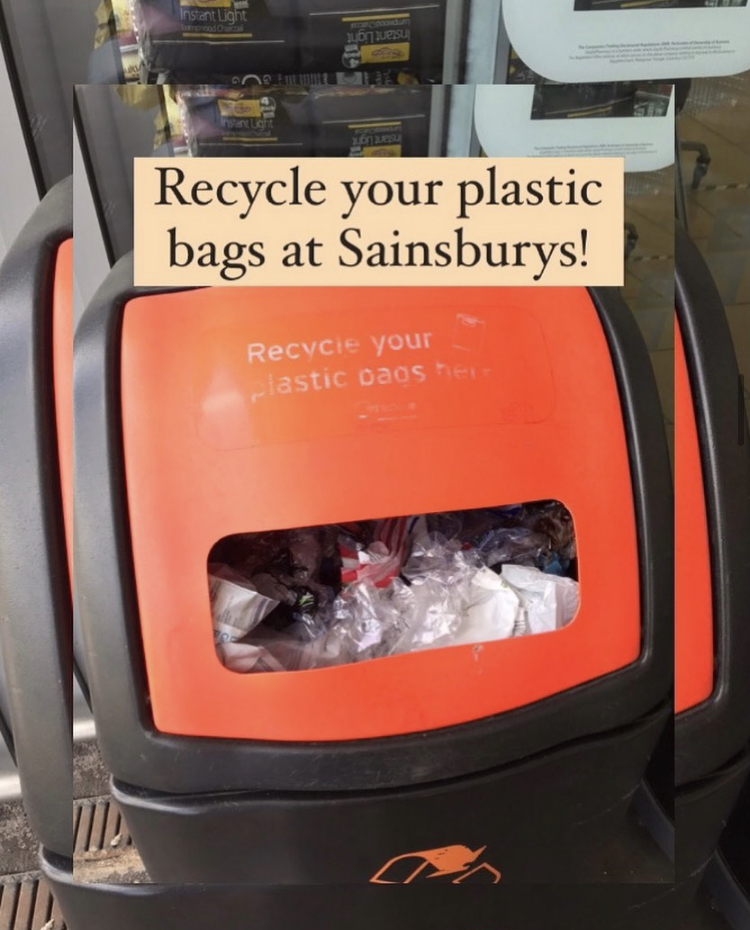 """Orange plastic bag recycling bin, with text overlay """"Recycle your plastic bags at Sainsburys."""