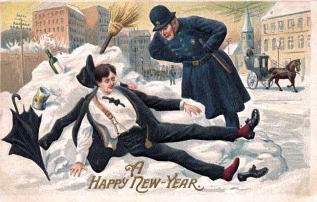 Postcard picture for New Year's, 1912