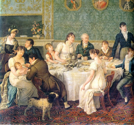 Painting of members of the Ruspoli family breakfasting in their Italian palazzo, 1807.