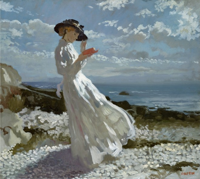 AGN284331 Grace reading at Howth Bay (oil on canvas) by Orpen, Sir William (1878-1931); 45.8x50.8 cm; Private Collection; (add.info.: the artist's wife, Grace Knewstub;); Photo © Agnew's, London; Irish, out of copyright