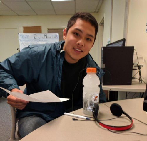 Albert Bernales in the studio to record a Bread Talk.
