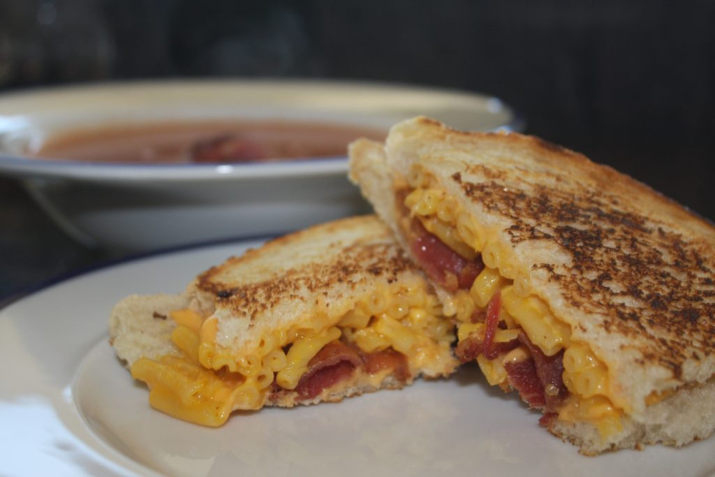 Grilled Mac-n-Cheese Sandwich with Tomato Soup. Photo | Curran Daly