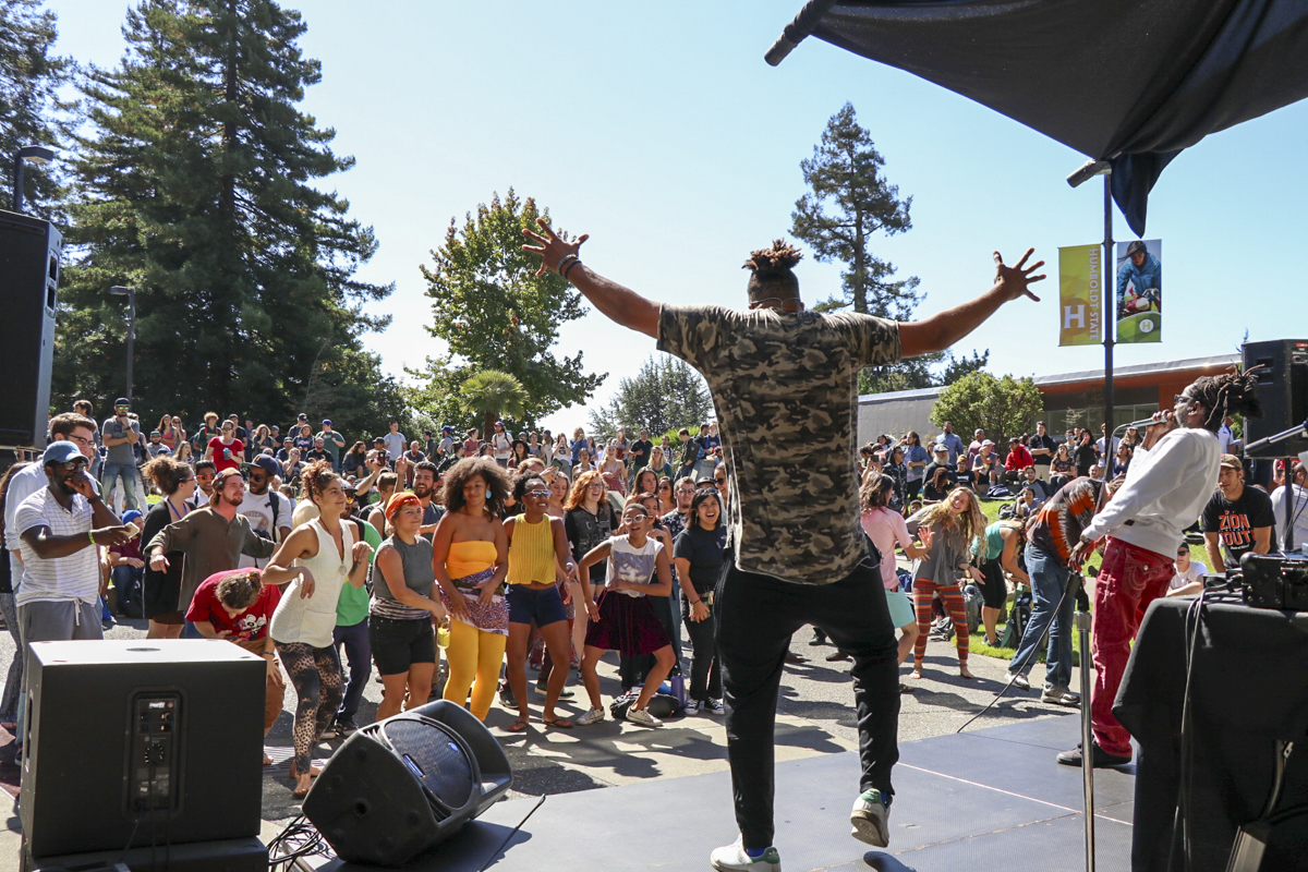 Baba Zumbi reacts to a beat drop during his performance in the UC Quad on Sept. 26. | Curran C. Daly
