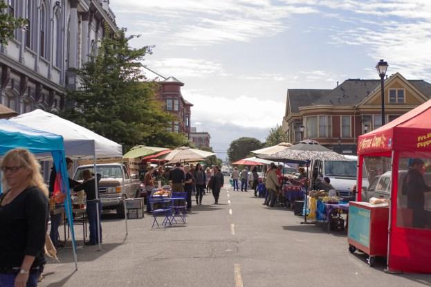 Eureka Farmers Market on F St. in Old Town, Eureka, CA. | Photo by Lauren Shea