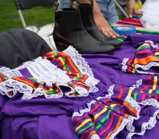 Elaborate dress displayed at the Humboldt De Folklorico table at Clubs Fair.