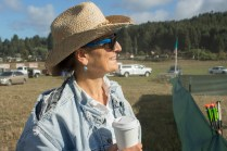 Coastal Grove Principal Bettina Eipper checking out the horse arena for the Medieval Festival of Courage.