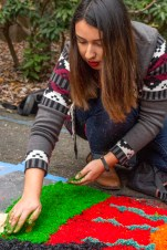 Samantha Garcia helps create a sawdust dye piece of art for the Dia De Los Muertos event on Thursday in front of the multicultural center at HSU.