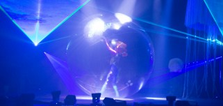 A performer during B-The Underwater Bubble Show at The Arkely Center, Thursday, Oct. 26, 2017. Photo credit: Robert Brown