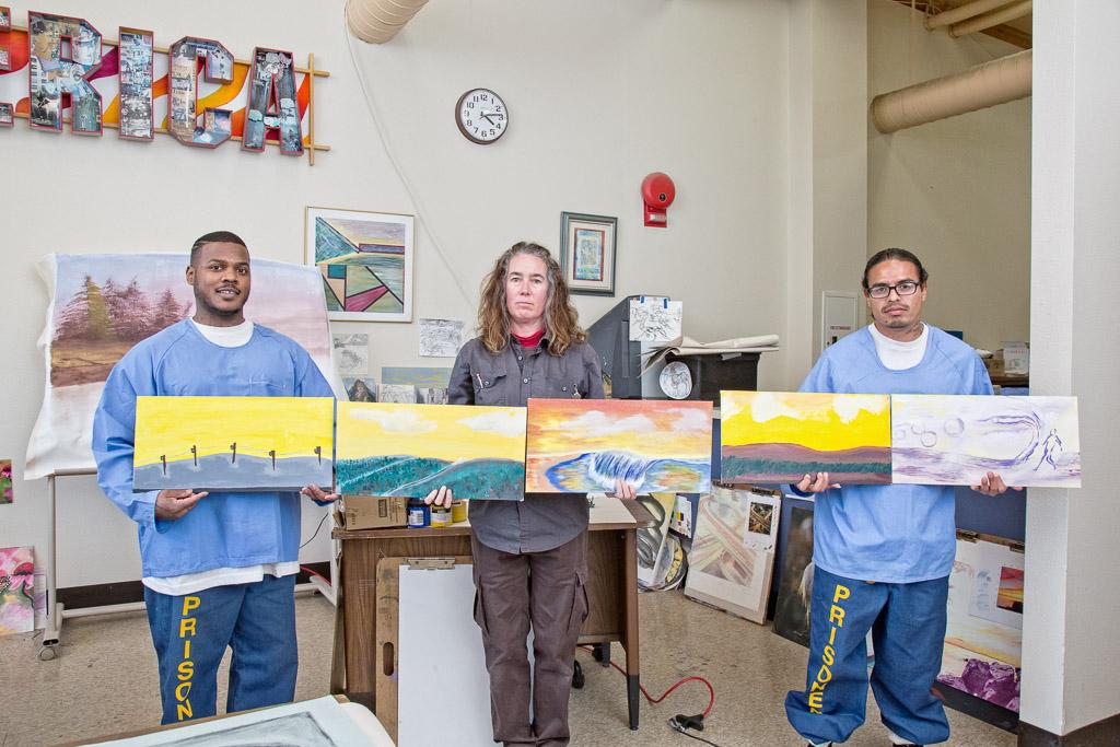 L to R: Jose Mendoza, instuctor Julie McNiel, Marquis Louden; Ho