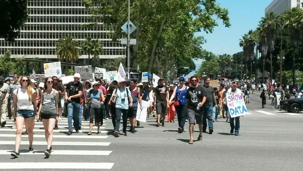 Protestors march towards Pershing Square in LA   Photo by Kelly Bessem
