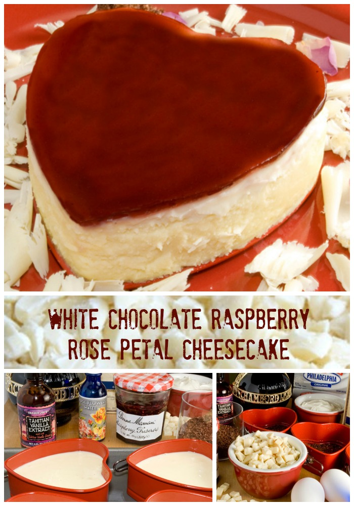 Luscious White Chocolate and Raspberry Rose Petal Cheesecake