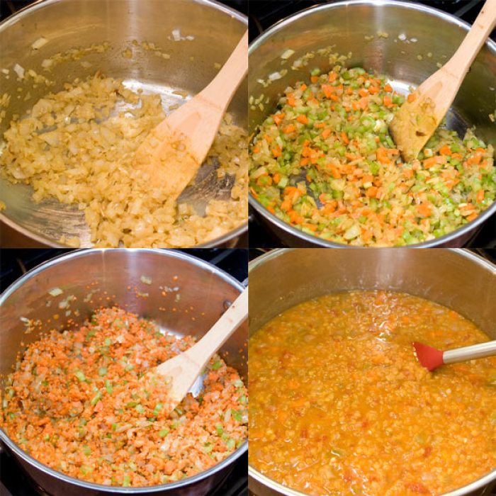 Curried Tomato and Red Lentil Soup in Four Stages of Preparation