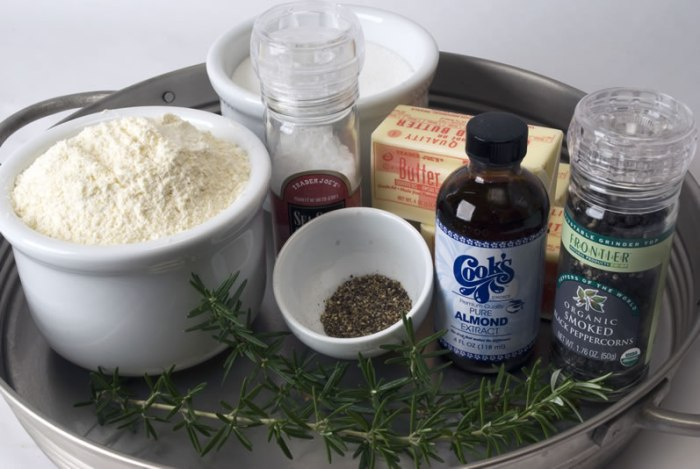 Ingredients for Cornmeal, Black Pepper & Rosemary Butter Cookies