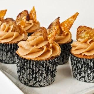 Peanut Butter & Garam Masala Cupcakes with Creamy Dreamy Peanut Butter Frosting, Peanut Praline & Caramelized Banana