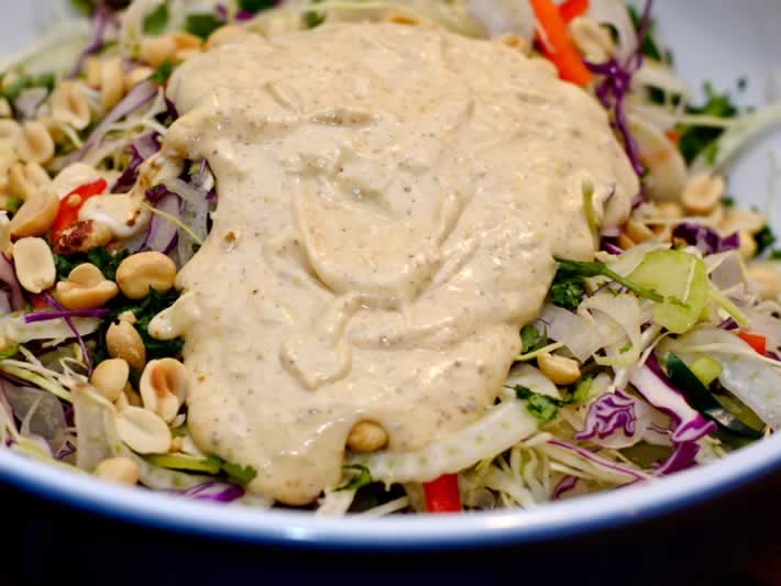 Ginger Lime Dressing on Cabbage Slaw with Fresh Ginger, Garam Masala & Roasted Peanuts