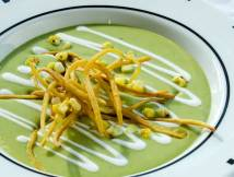 Roasted Green Chile Soup with Mexican Crema, Frizzled Tortillas & Charred Sweet Corn   LunaCafe