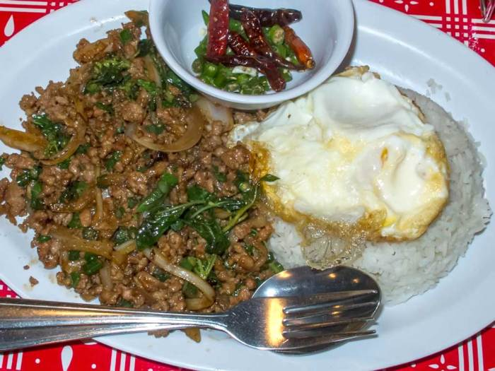 Sen Yai Kai Muu Kaphrao Khai Dao (Spicy fried minced pork and long beans, with onion, Thai basil, and black soy sauce. Served with jasmine rice and a fried egg.)