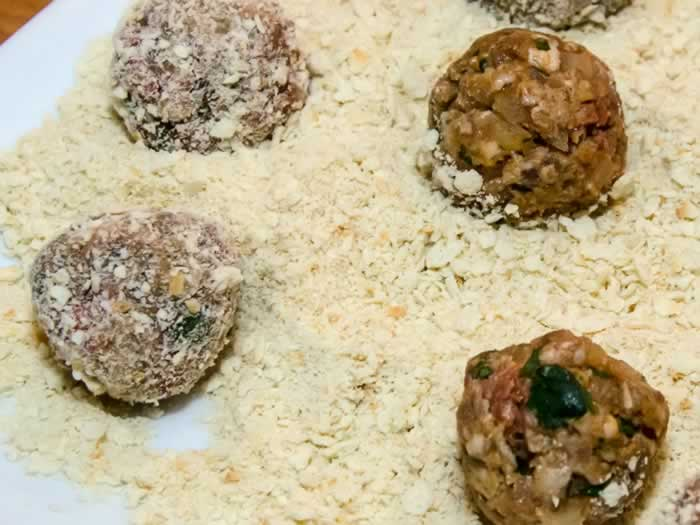 Breading Forming Meatballs for Ingredients for Moroccan Kefta Tagine (Spicy Meatballs with Tunisian Tomato Sauce, Olives & Preserved Lemon)