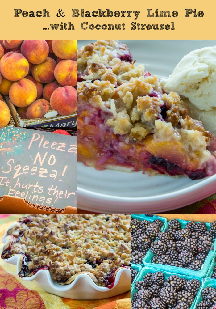 Peach & Blackberry Lime Pie with Coconut Streusel