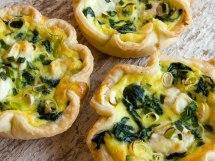 Baby Greens, Green Garlic & Garlic Chive Tarts