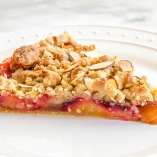 Plum & Orange Blossom Tart with Almond Sage Streusel