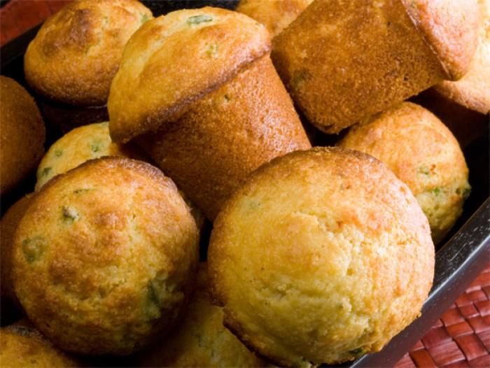 Basket of Aunt Elfred's Corn Bread Muffins