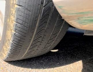 A bald tire low on tread. Photo by Kristen Finley.
