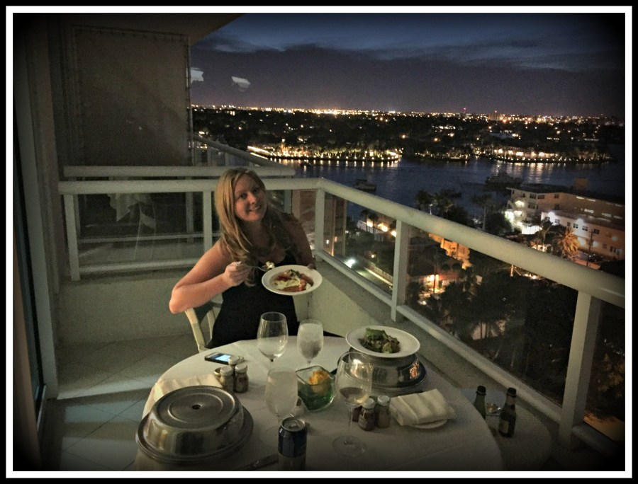 Dining al fresco from our room with a view at the Ritz Carlton Fort Lauderdale