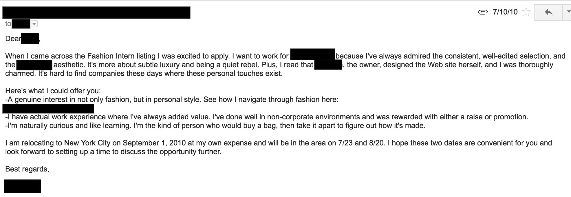 Wardrobe Assistant Cover Letter How I Got A Job In Fashion With No Experience The Luxe Strategist