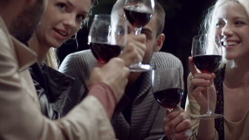 Group with wine glasses