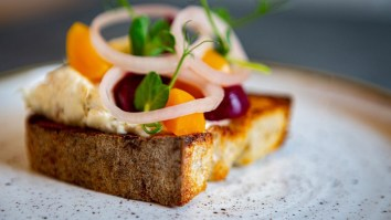 Smoked Mackerel Pâté toasted sour dough, pickled beets Close up