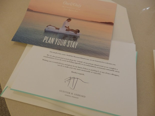 HAYMAN SUITE: WELCOME LETTER