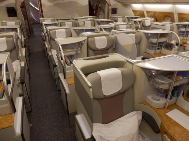 BUSINESS CLASS: SMALLER CABIN AT THE REAR OF THE PLANE