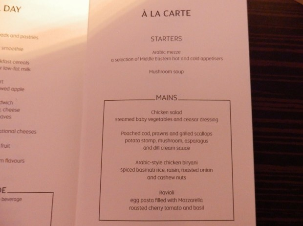 MENU BRUSSELS TO ABU DHABI