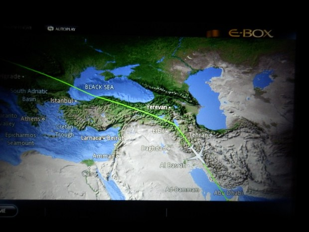 BRUSSELS TO ABU DHABI: FLIGHT PATH