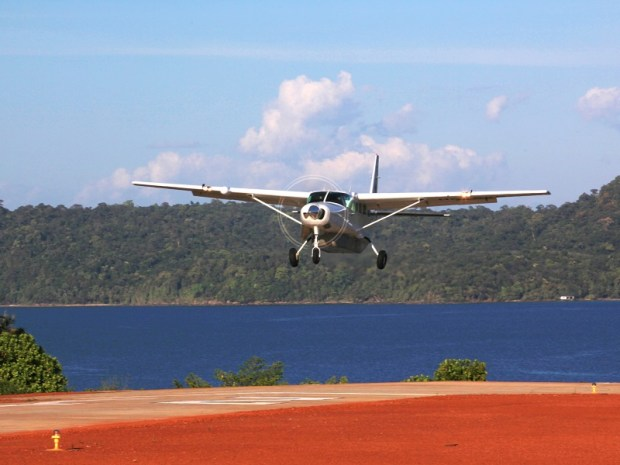 LANDING AT SONEVA KIRI'S PRIVATE AIRSTRIP