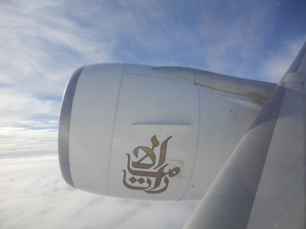 VIEW ON ENGINE FROM BUSINESS CLASS SEAT 9K
