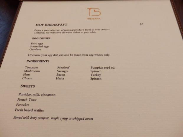 BREAKFAST: MENU