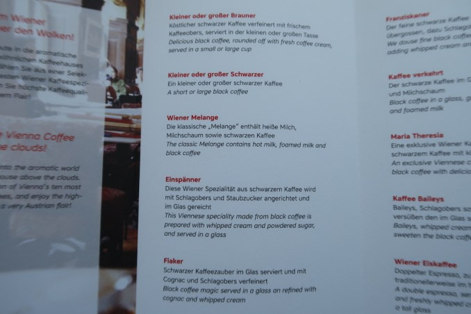 AUSTRIAN AIRLINES BUSINESS CLASS COFFEE MENU