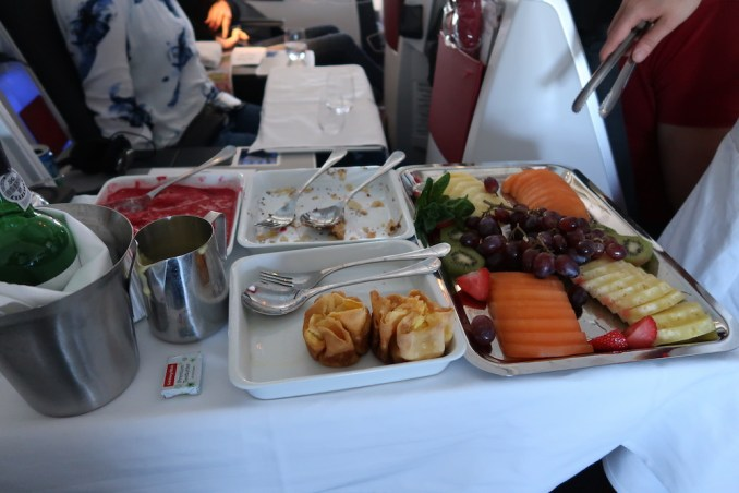AUSTRIAN AIRLINES BUSINESS CLASS LUNCH: DESSERT & CHEESE