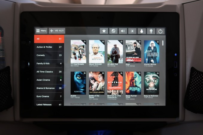 AUSTRIAN AIRLINES BUSINESS CLASS INFLIGHT ENTERTAINMENT