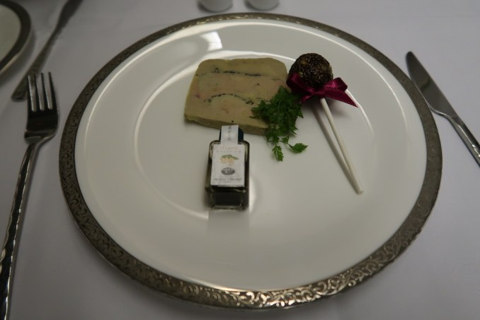 THAI AIRWAYS B747 FIRST CLASS MENU: FOIE GRAS TERRINE