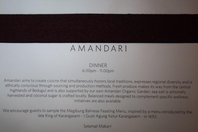 AMANDARI: RESTAURANT - DINNER