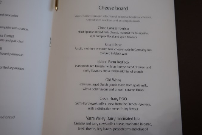EMIRATES B777 FIRST CLASS: MENU