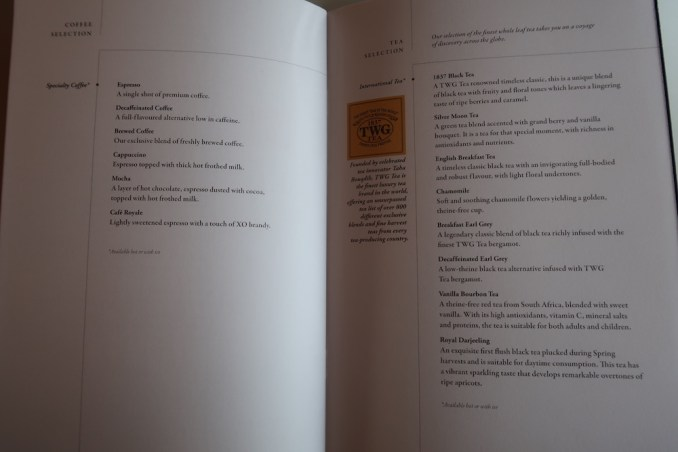 SINGAPORE AIRLINES A380: BUSINESS CLASS MENU