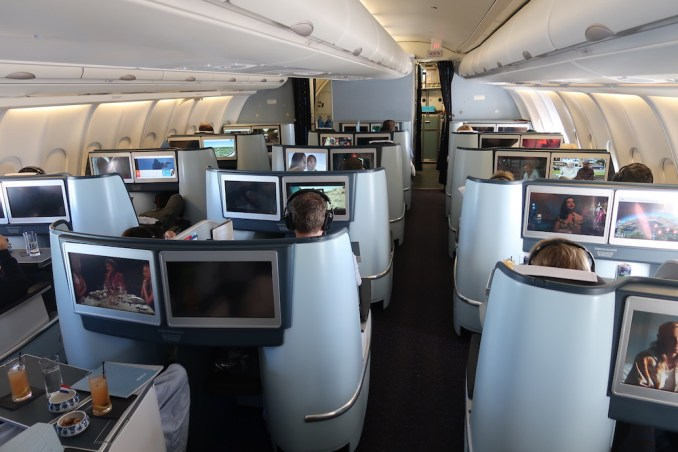 KLM A330 BUSINESS CLASS CABIN (IN FLIGHT)